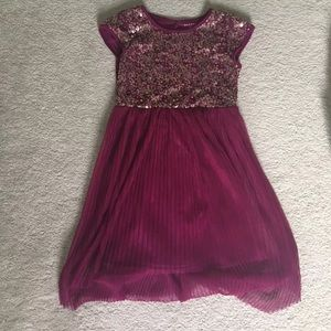 Girls maroon/ violet dress with bronze sequins